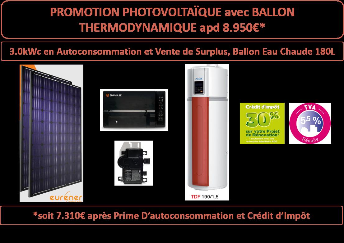PROMOTION SEP-OCT 19 Photovoltaïque et Ballon Thermodynamiqe